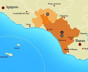 mappa DOCG Cerasuolo di  Vittoria